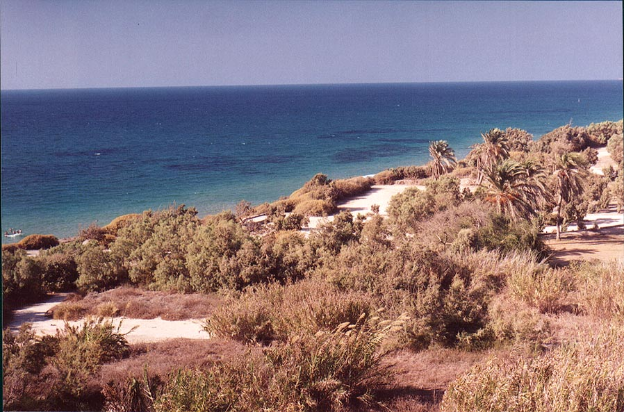 View of Mediterranean sea and the park from an...in southern Ashkelon. The Middle East