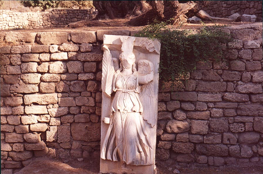 Statue of the goddess of victory in the park in southern Ashkelon. The Middle East