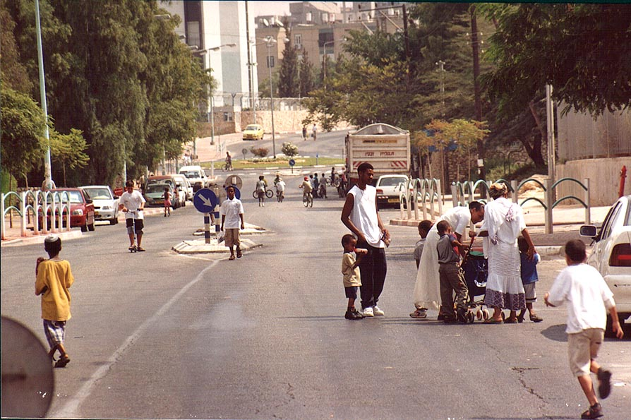 Abaravanel St. turned to playground during Yom...forbidden. Beer-Sheva, the Middle East