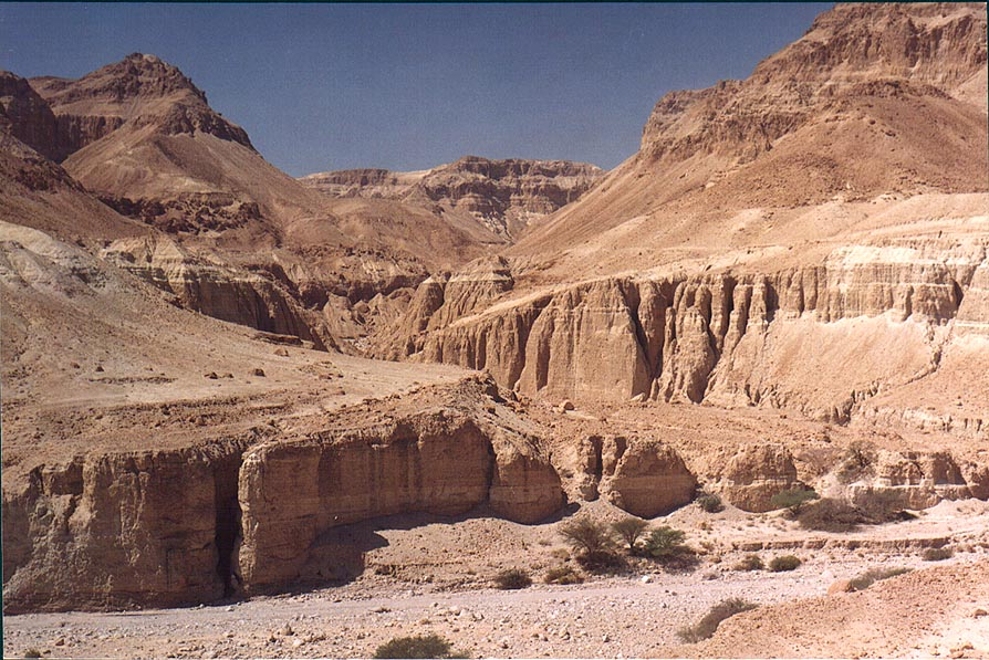 Entrance to Tseelim Canyon, 3 miles north from Masada, near Dead Sea. The Middle East
