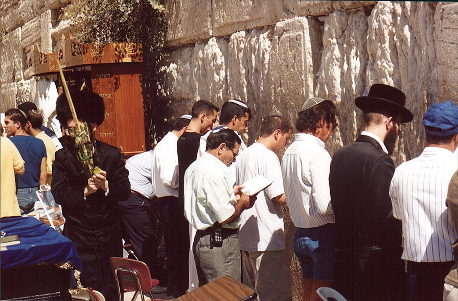 Western, or wailing Wall during Sukkot holiday. Jerusalem, the Middle East
