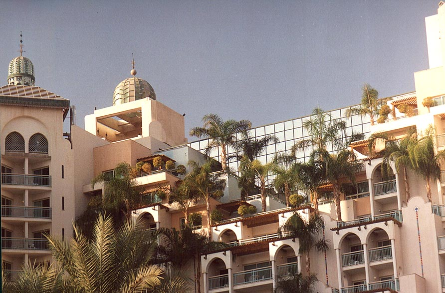 A tall hotel with gardens. Eilat, the Middle East
