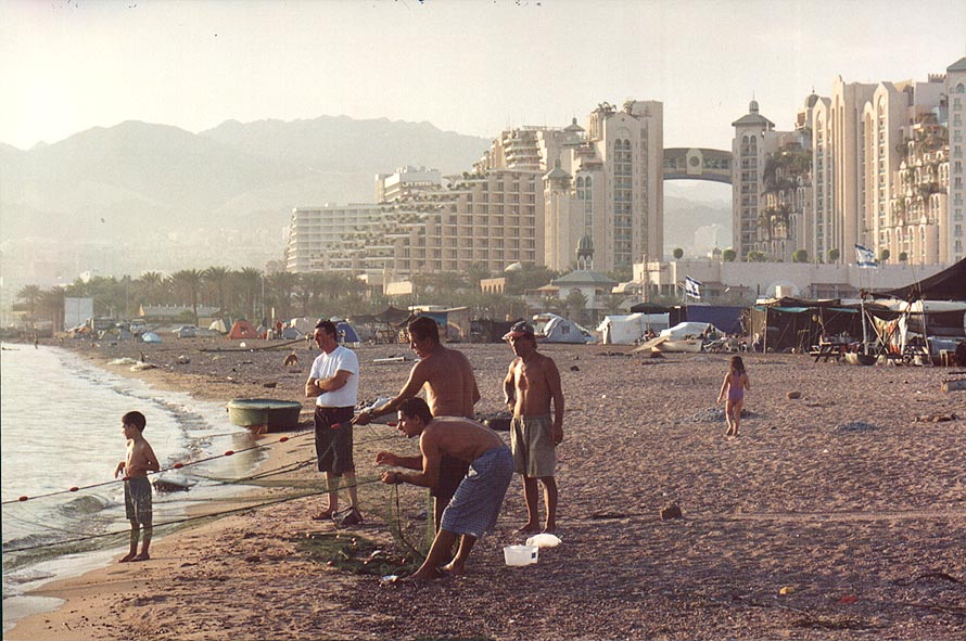 Fishing near Jordanian border. Eilat, the Middle East
