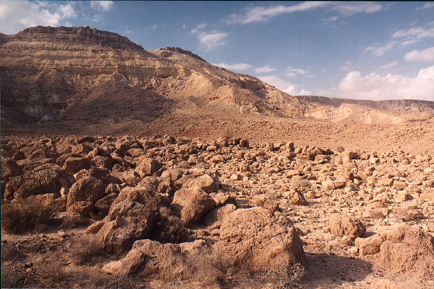 Bottom of Makhtesh Ramon (crater). Visitor Center...the cliff to the left. The Middle East