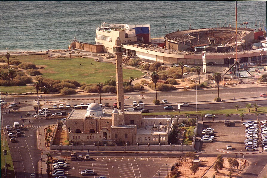 Hassan Beck Mosque and Dolphinarium behind it...tower. Tel Aviv, the Middle East