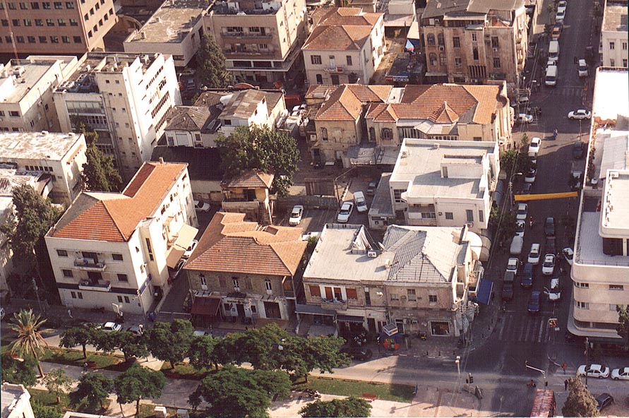 Houses built at the beginning of 19th century at...tower. Tel Aviv, the Middle East