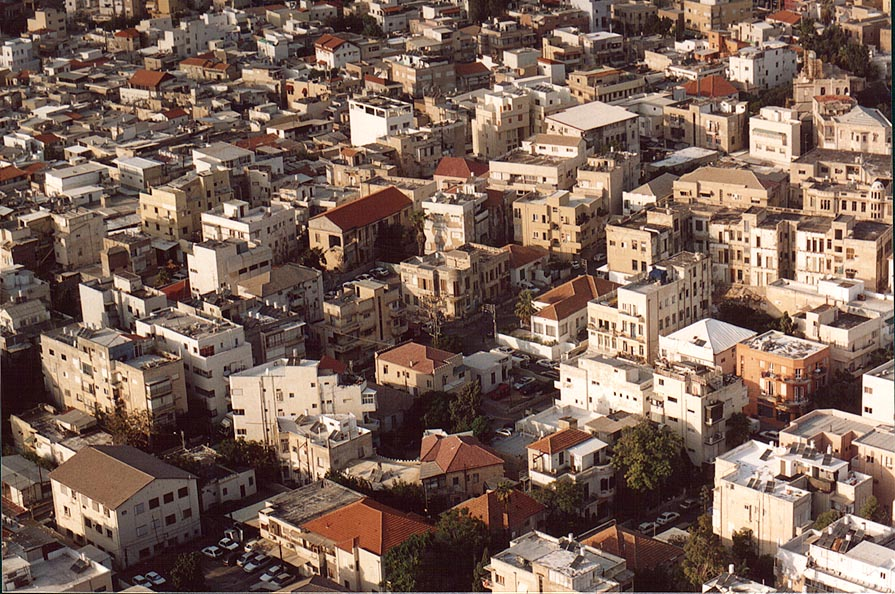 Area around Hatabor and Rabinovitch St., view to...tower. Tel Aviv, the Middle East