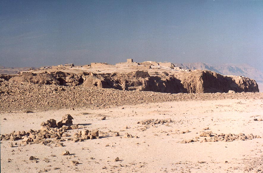 Plateau of Mount Eliazar and Masada hill with...s Fortress behind it. The Middle East
