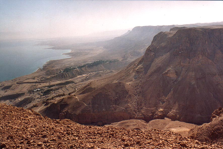 David Creek and Dead Sea shores around Ein Gedi...Mount Yishai lookout. The Middle East