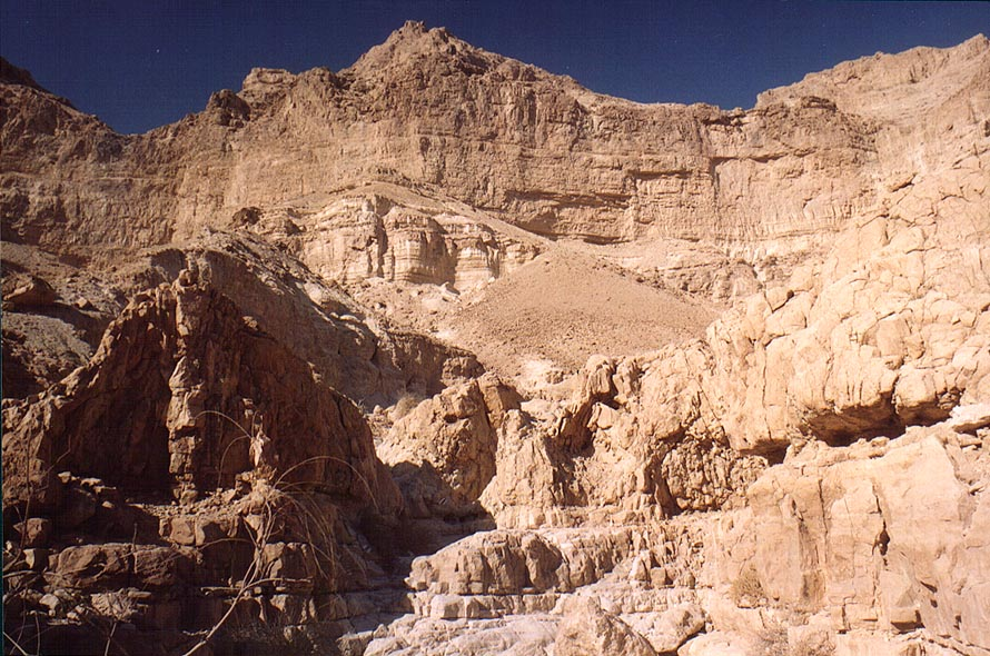 Dead end of the upper Nahal David canyon, above Ein Gedi. The Middle East
