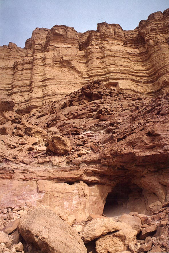 Sandstone cliffs along Tsafit Creek 10 miles west from Dimona. The Middle East