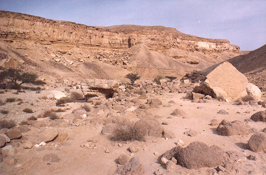 Wide part of lower canyon of Nahal Tsafit Creek...from Arava junction. The Middle East