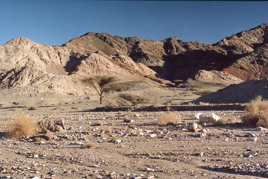 Netafim Creek west from Mount Shahmon, 2 miles north-west from Eilat. The Middle East