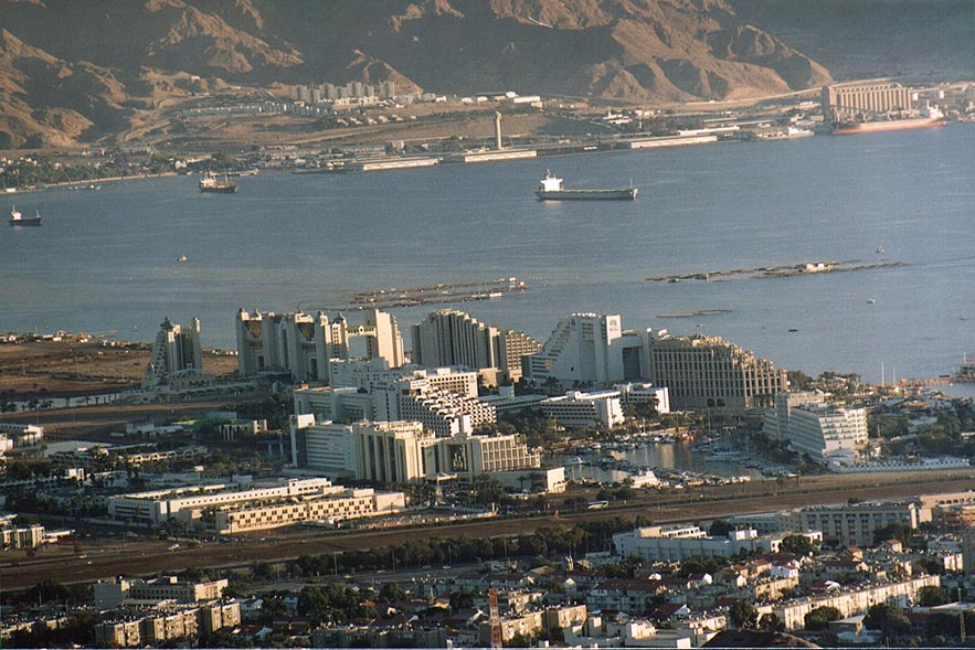 Eilat hotels at Red Sea, view from Mount Shahmon at evening. The Middle East