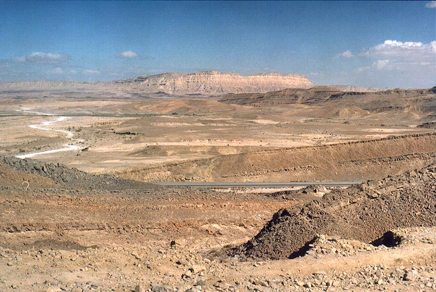 Ramon Crater east from Mitzpe Ramon, with Rd. 40...Ardon in background. The Middle East