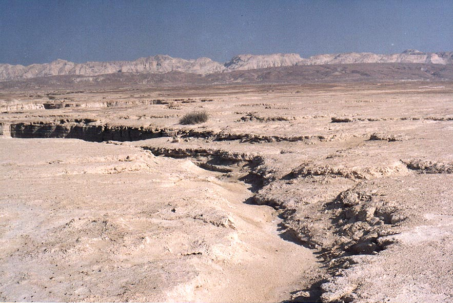 Chalky plateau of Mishor Amiaz, west from Mount Sdom, near Flour Cave. The Middle East