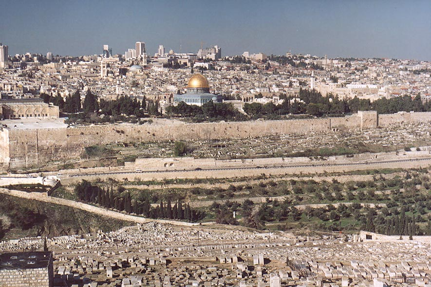 View of Jewish cemetery and Old City across...of Olives. Jerusalem, the Middle East