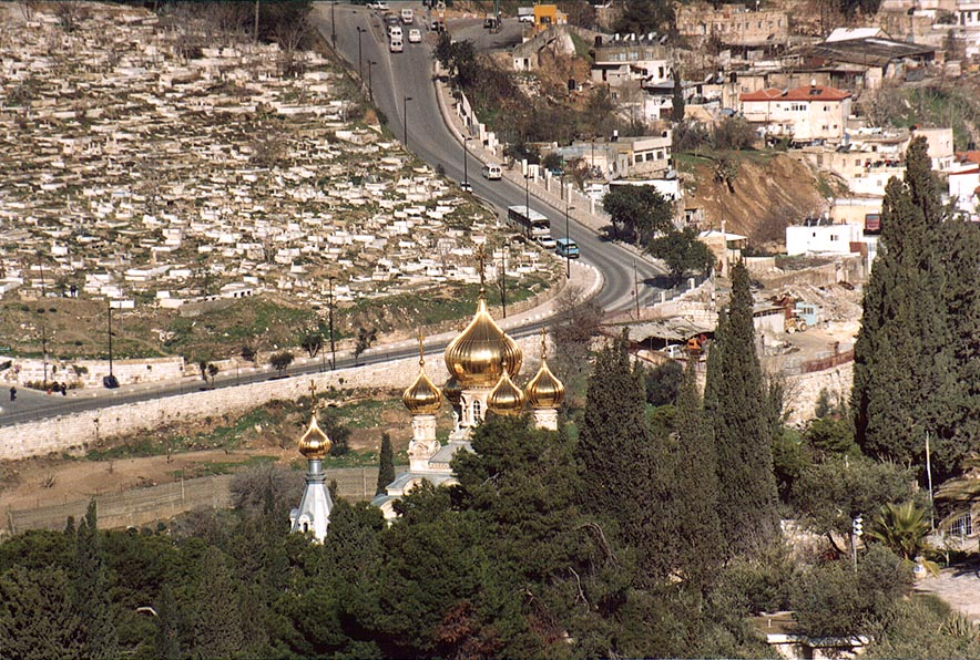View of Russian Church of Mary Magdalene, Yeriho...of Olives. Jerusalem, the Middle East