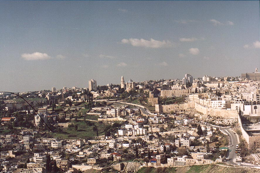 View to the direction of Mount Zion from Mount of Olives. Jerusalem, the Middle East