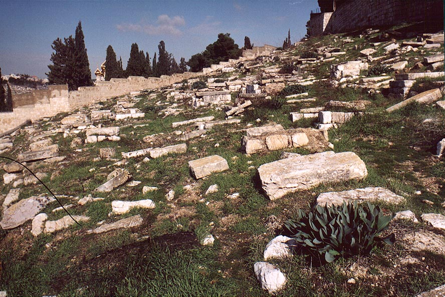 Abandoned Jewish cemetery on slopes of Mount of Olives. Jerusalem, the Middle East