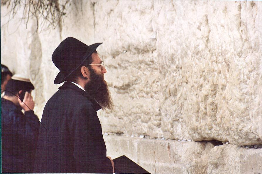 Praying at Western, or Wailing Wall. Jerusalem, the Middle East