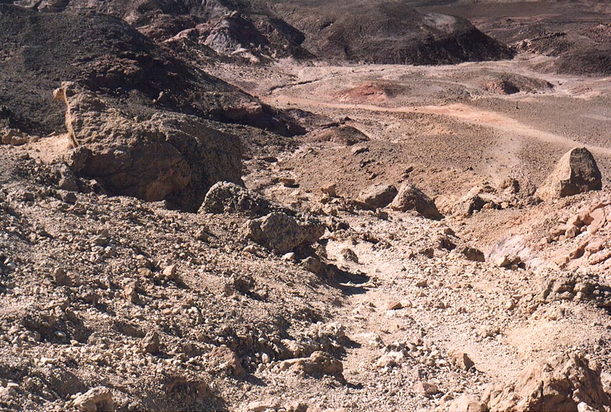 View from a trail along a western slope of Mount...north-west from Eilat. The Middle East