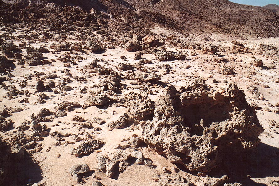 View of limestone erosion from a trail along a...north-west from Eilat. The Middle East