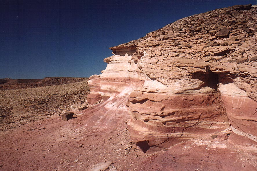 View of multi-colored sandstone from a trail...north-west from Eilat. The Middle East