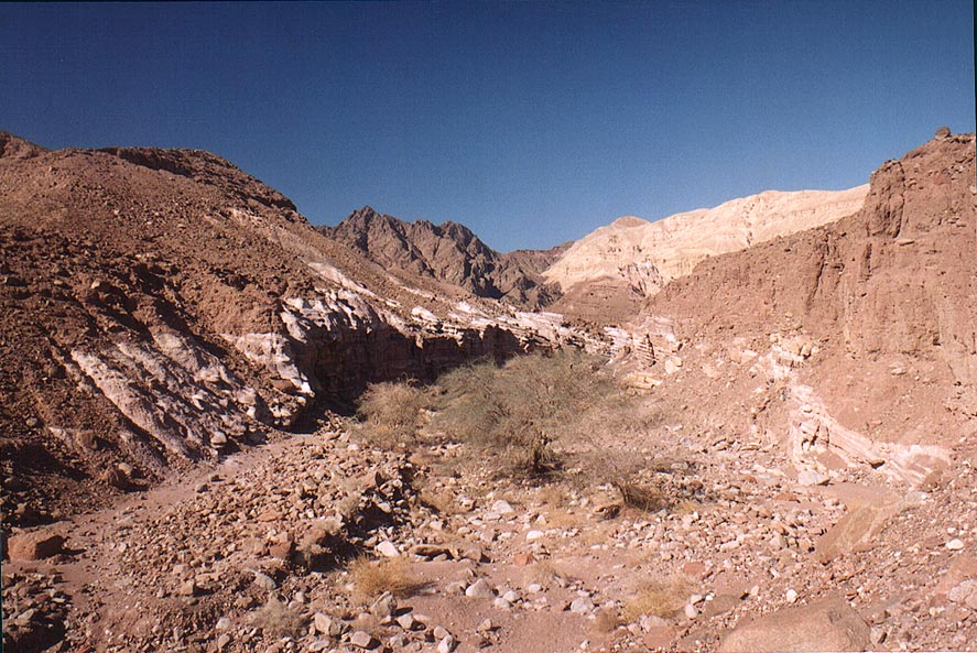 Nahal Gishron creek near Safra Passage, view from...miles west from Eilat. The Middle East