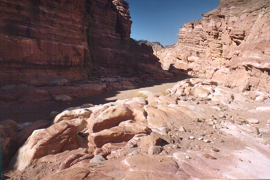 Sandstone bottom of Nahal Gishron creek, a trail...miles west from Eilat. The Middle East