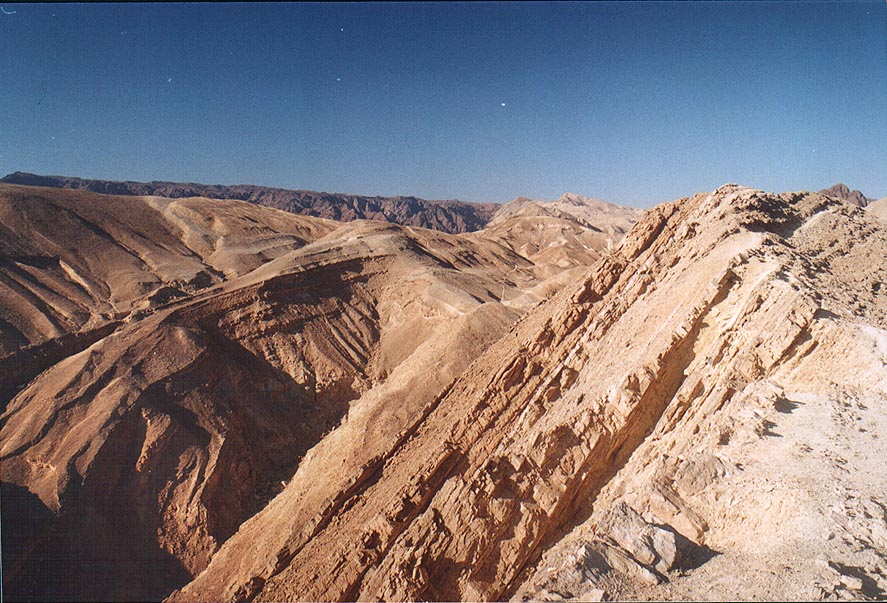 "Cliffs along ""knife trail"" (no. 20565), 3 miles west from Eilat. The Middle East"