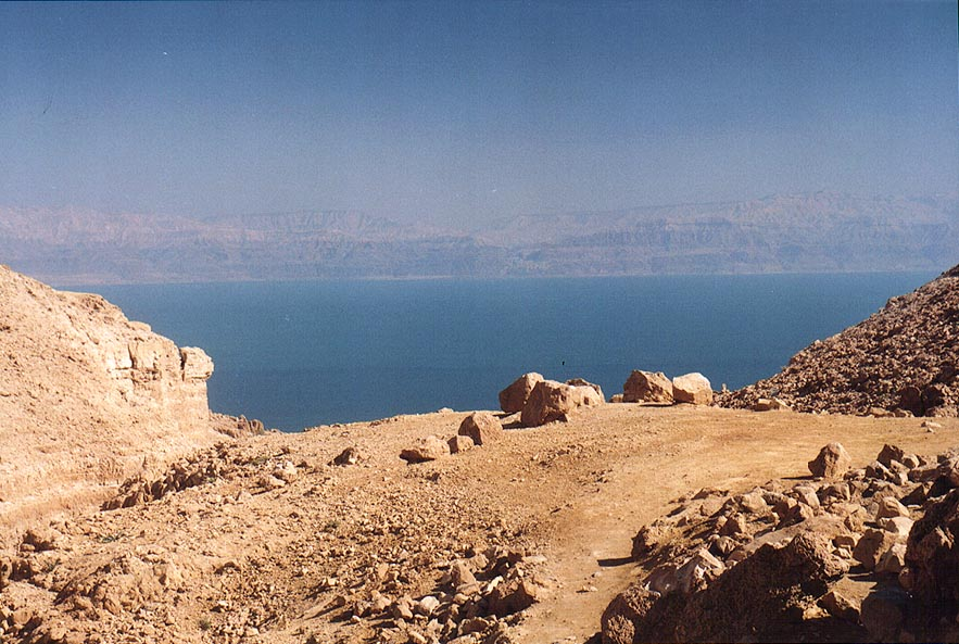 View of Dead Sea from an opening of David creek in Ein Gedi. The Middle East