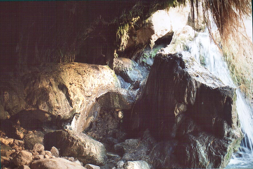 A waterfall at Dudaim Cave in Ein Gedi. The Middle East