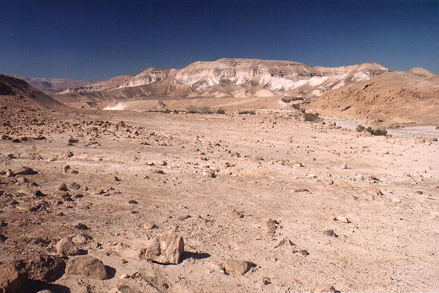 Judean Desert above canyon of Nahal Rahak creek 2 miles south from Masada. The Middle East