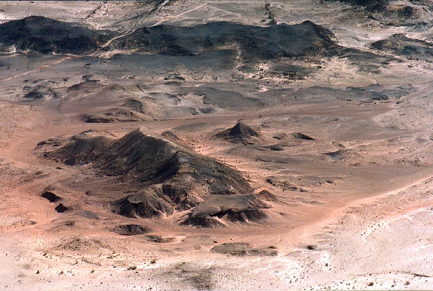 Volcanic hills on the bottom of Ramon Crater south from Mount Ardon. The Middle East