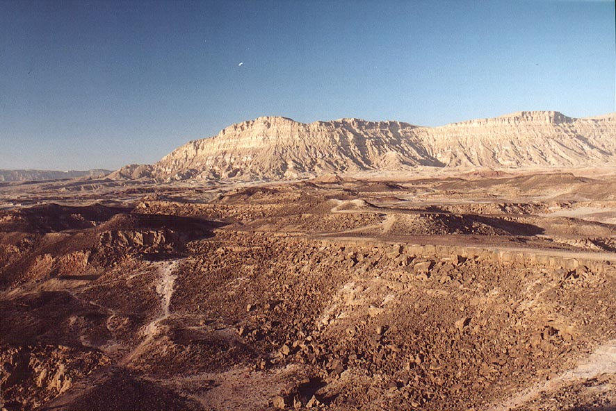 View of Mount Ardon in Ramon Crater north from...at Harut at evening. The Middle East