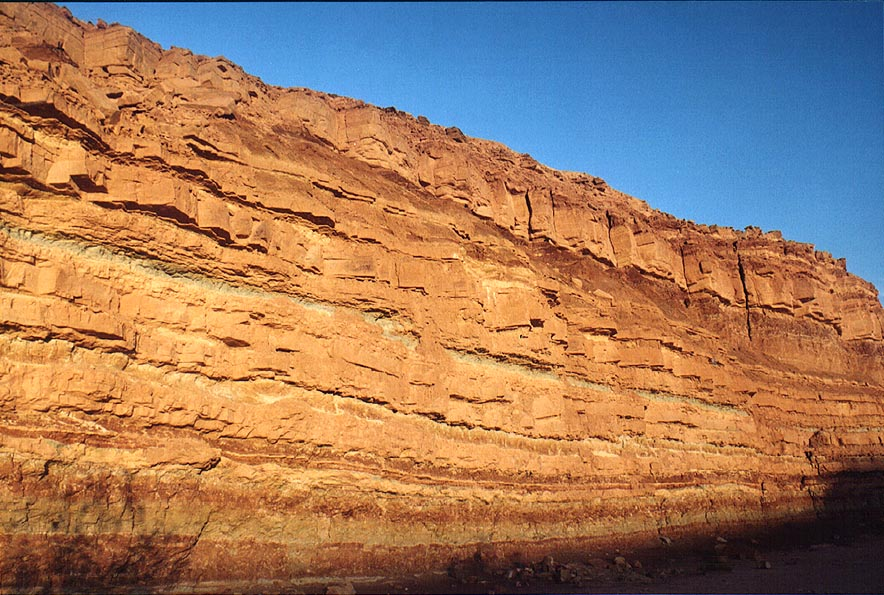 Cliffs of Nahal Ardon river in Ramon Crater just before sunset. The Middle East
