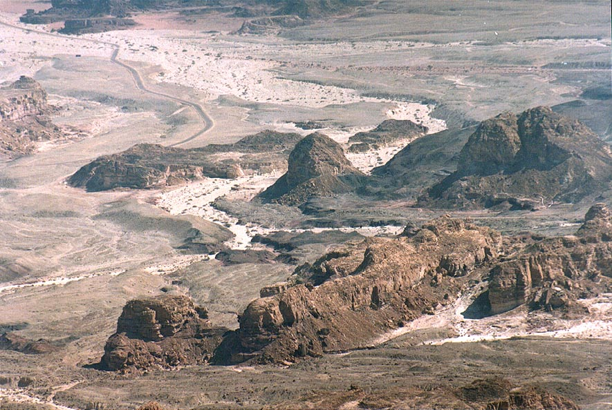 View of area of Timna copper mines south-east...north from Eilat. The Middle East