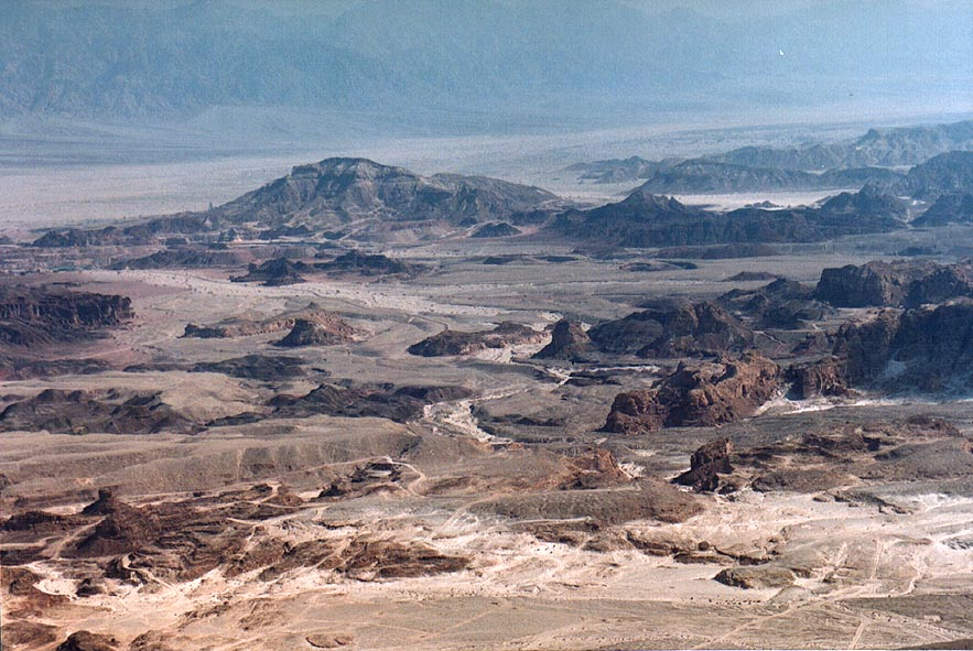 View of Arava Valley and Timna Park south-east...north from Eilat. The Middle East