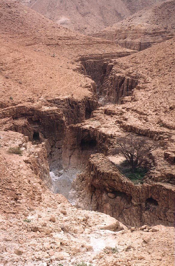A dry canyon of Nahal Mishmar river, after its...north, near Dead Sea. The Middle East