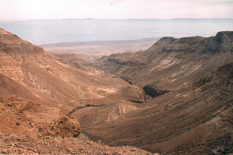Nahal Mishmar canyon and the Dead Sea from the southern lookout. The Middle East