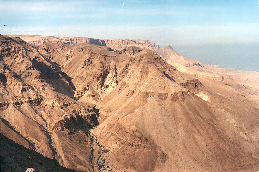 View of Nahal Miflat north from Maale Tseelim ascent near Dead Sea. The Middle East