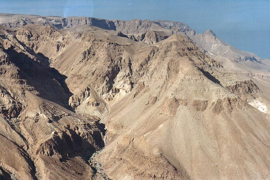 View of upper parts of Nahal Miflat north from...ascent near Dead Sea. The Middle East