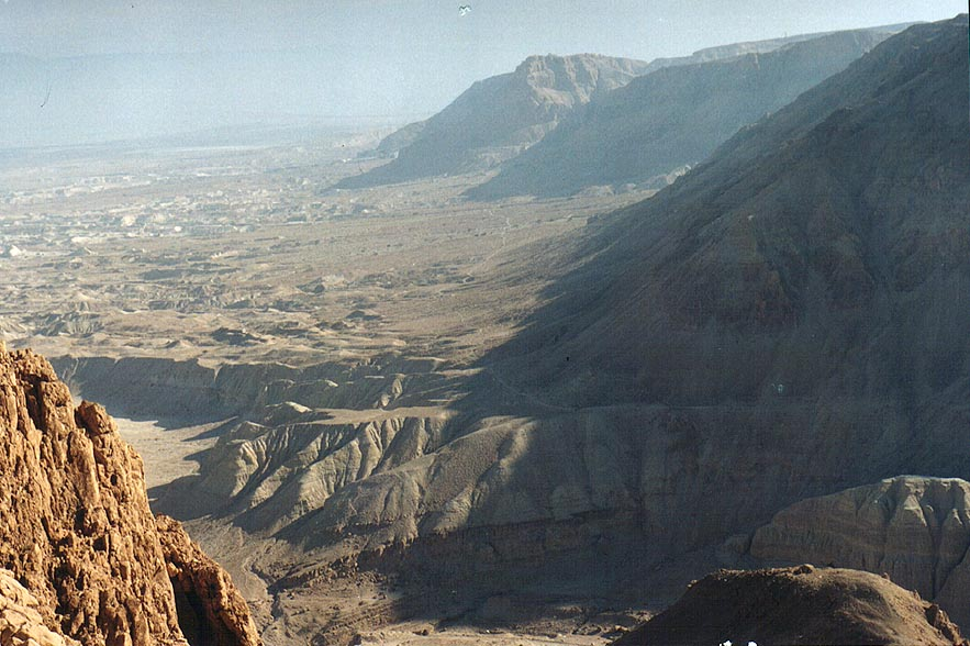 View of opening of Tseelim canyon south from...ascent near Dead Sea. The Middle East