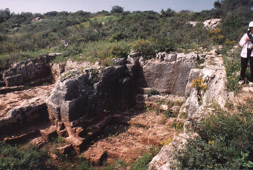 Ancient quarries in a garden on Mount Carmel near Zikhron Ya'akov. The Middle East
