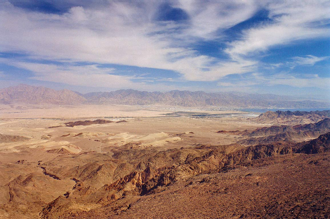 View of Arava Valley from Mount Shehoret, 4 miles north from Eilat. The Middle East