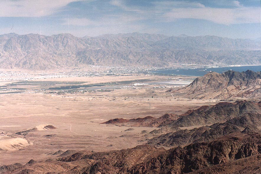 View of Arava Valley and Akaba from Mount...north from Eilat. The Middle East