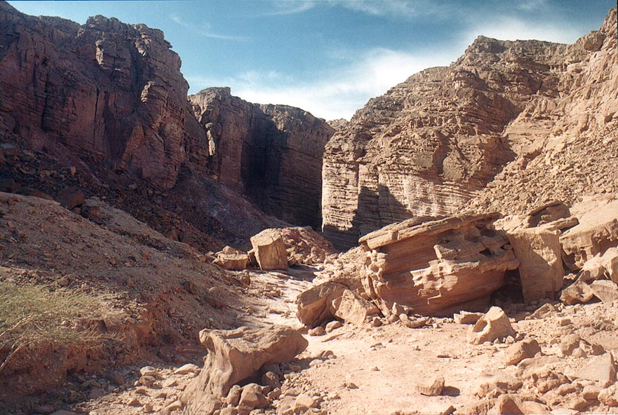 Red sandstone at Gaye Avud, 3 miles north from Eilat. The Middle East