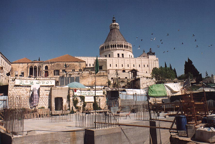 Construction of a mosque near Church of Annunciation in Nazareth. The Middle East