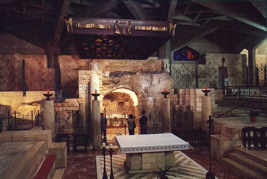 Interior of the Church of Annunciation in Nazareth, Grotto of the Virgin. The Middle East